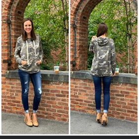 DUSTY CAMOUFLAGE HOODIE TOP WITH KANGAROO POCKET