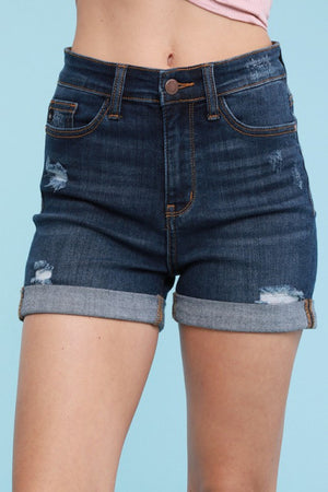 Distressed High Rise Distressed Denim Shorts