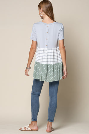 Color Block Tunic Polka Dots