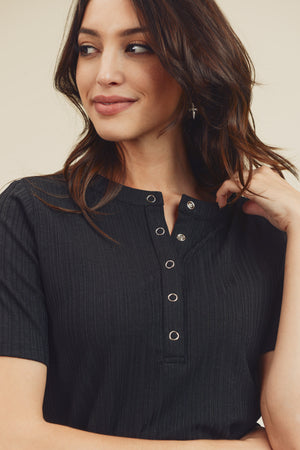 3/4 Sleeve Button Detail Black