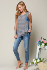 STRIPE KNIT AND CHAMBRAY SLEEVELESS TANK WITH ZIPPER BACK