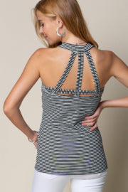 MOCK NECK TOP WITH STRAPPY BACK DETAIL