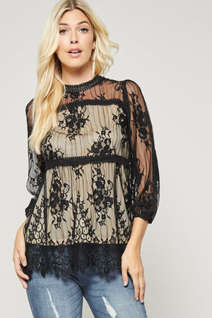 Black Lace Party Top