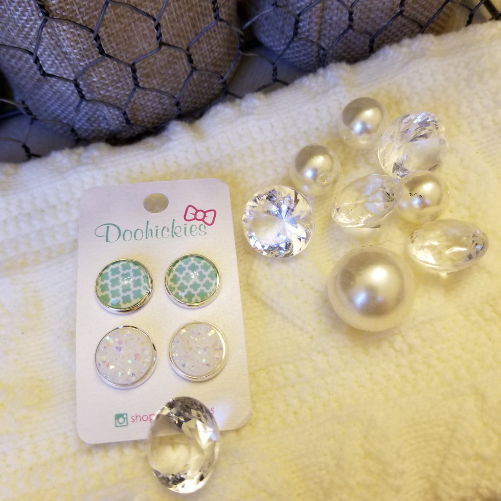 Mint Clovers and White Pearl Druzy Earrings