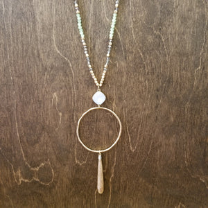 Opal Stone Teardrop Necklace