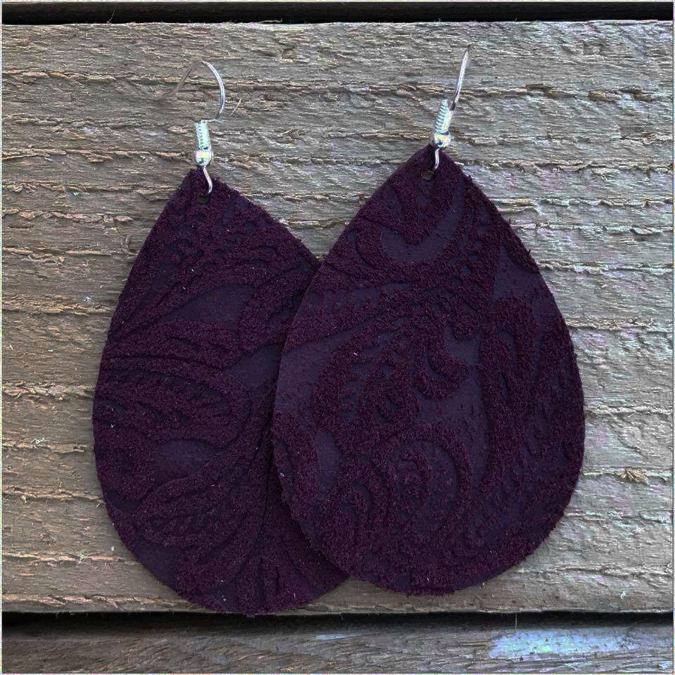 Wine Embossed Leather Teardrop Earrings