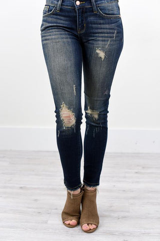 Cropped Dark Wash Ankle Fray Skinny Denim