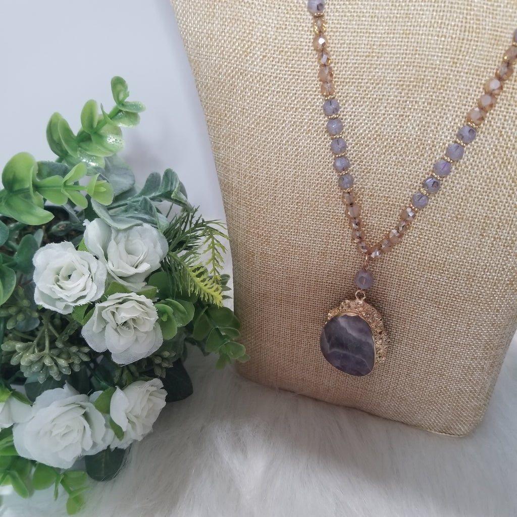 Purple Natural Stone Beaded Necklace