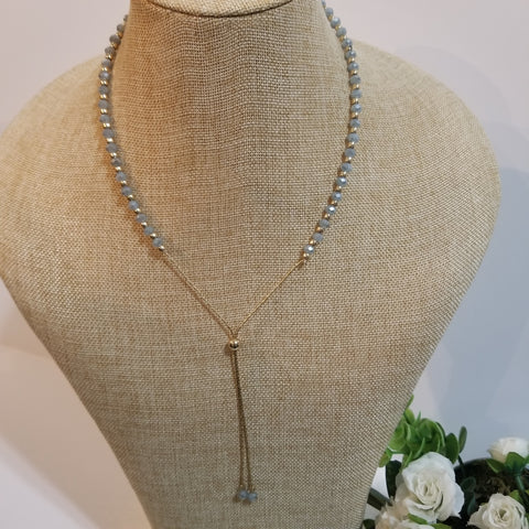Beaded Necklace with Gold Lariat