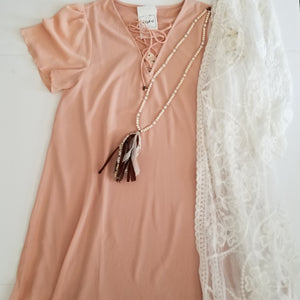Shift Dress with Lace Up Neckline