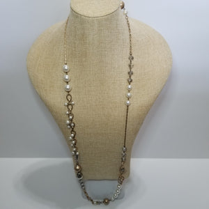 Mixed Metals Pearl and Crystal Necklace