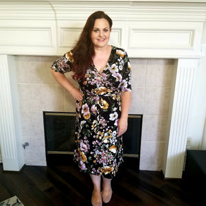 Faux Wrap Floral Print Dress