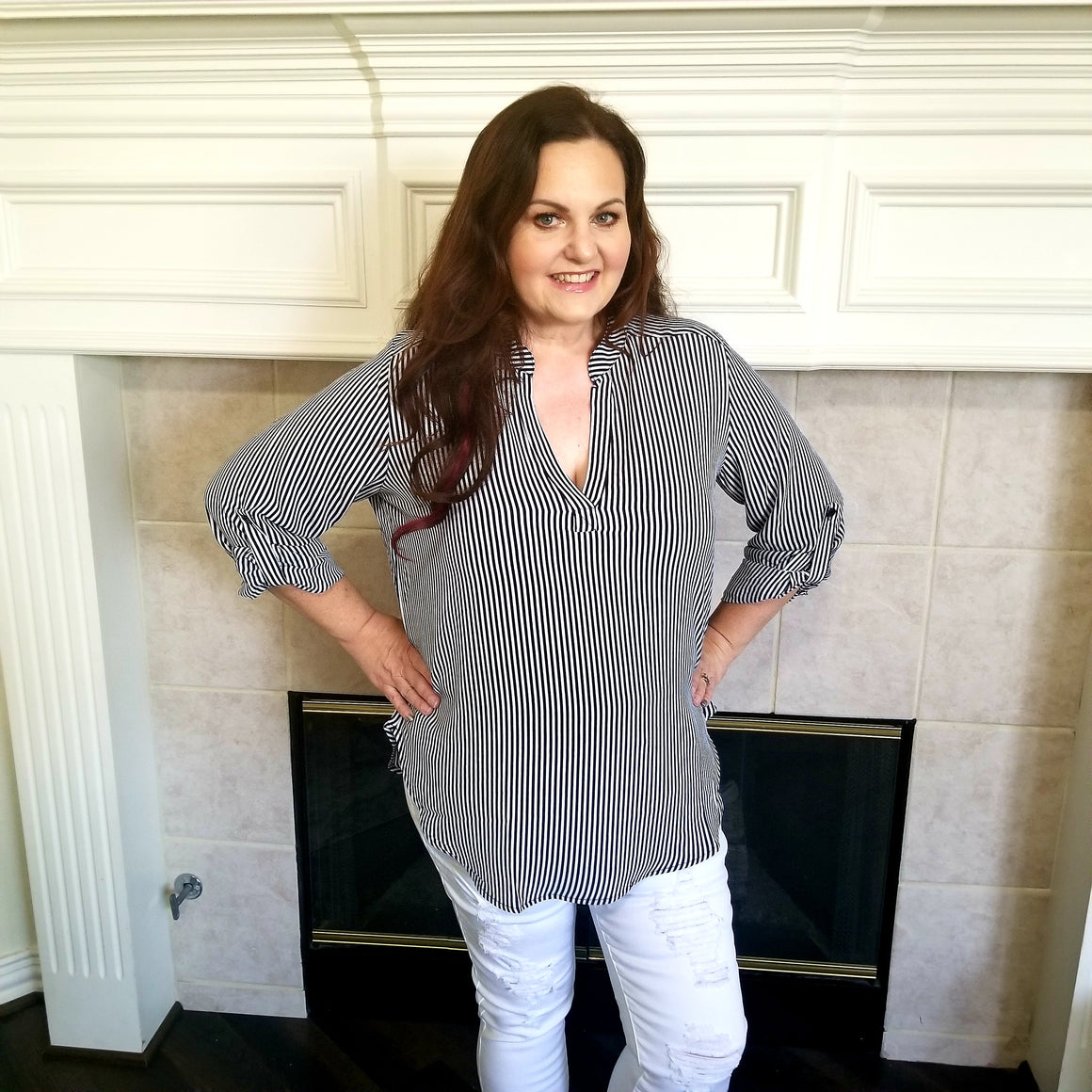 Navy & Ivory Striped Blouse with Button Sleeve