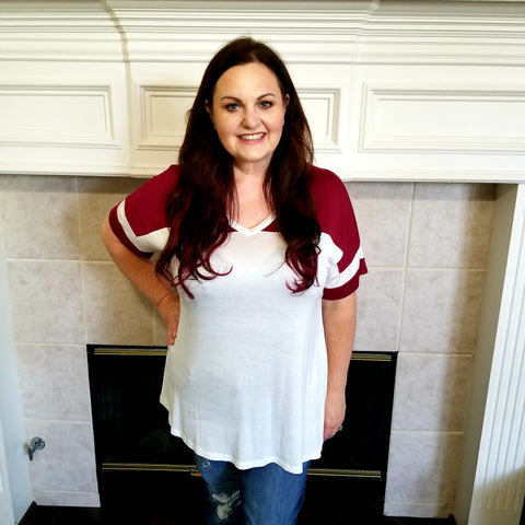 Burgundy and Ivory Varsity Top