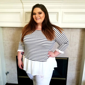 Gauze and Stripe Top