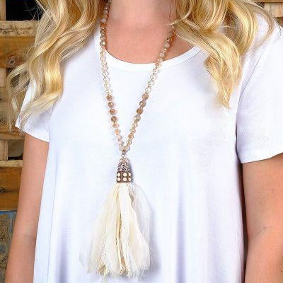 Pearl and Beige Beaded Necklace with Fabric Tassel