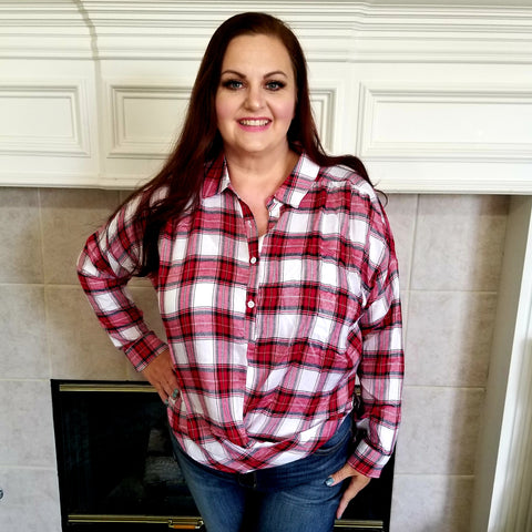 Red & Navy Plaid Top