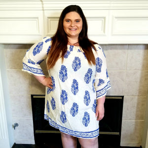 Off The Shoulder Border Print Dress