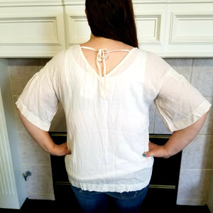 Cream Dolman Bell Sleeve Blouse