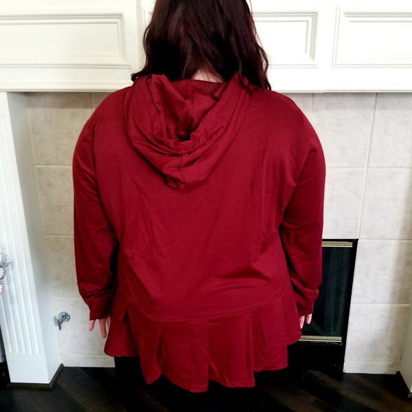Burgundy Hoodie with Pleat Detail
