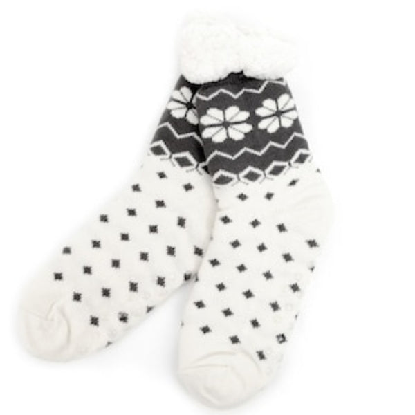 Women's Plush Sherpa Winter Fleece Lining Nordic Slipper Socks
