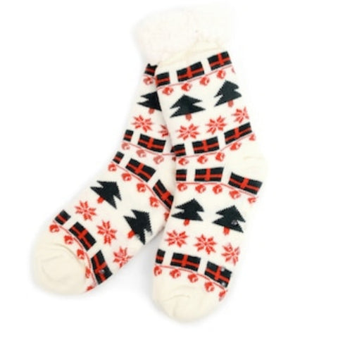 Women's Plush Sherpa Winter Fleece Lining Christmas Slipper Socks