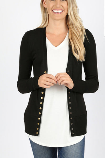 Solid Snap Cardigan