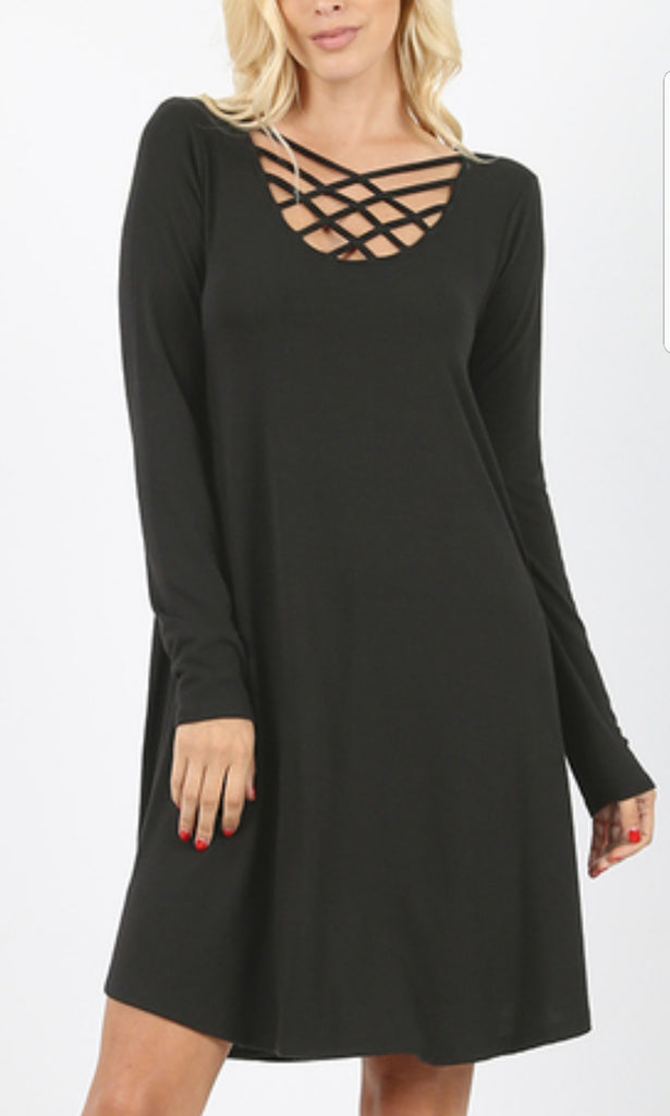 Triple Lattice Dress with Pockets