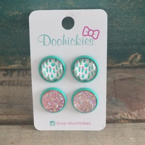 Teal Cactus and Soft Pink Druzy Earrings
