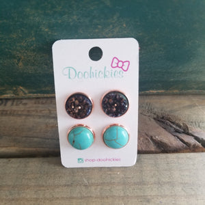 Turquoise & Brown Druzy Earrings Set
