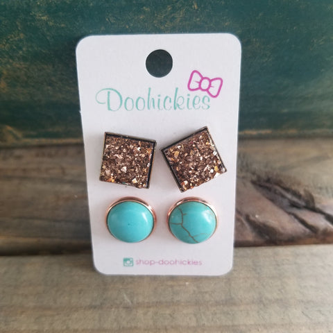 Turquoise & Golden Brown Druzy Earrings Set