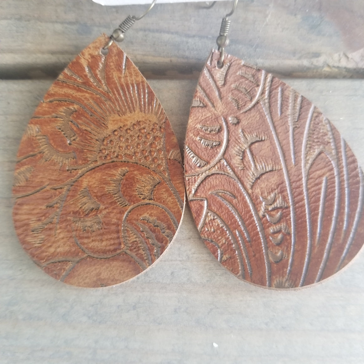 Cognac Embossed Teardrop Earrings