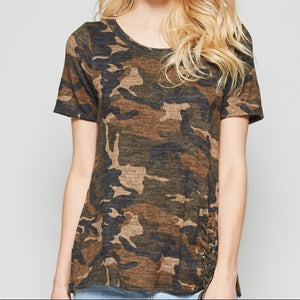 Camo Knit Top with Lace Up Detail