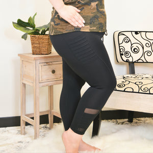 High Waist Moto Ribbed Full Athletic Leggings with Mesh