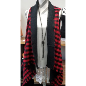 Black and Red Check Scarf/Vest/Wrap
