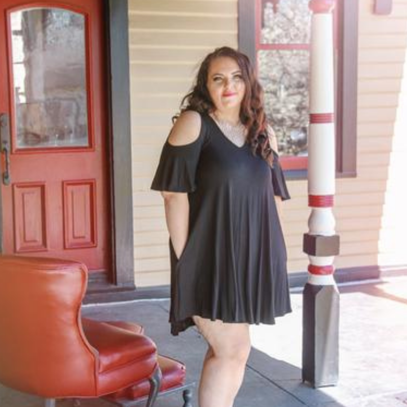 Black Open Shoulder Short Sleeve Dress