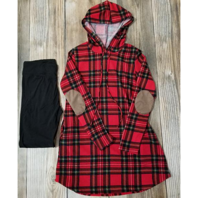 Plaid Hoodie Tunic/dress