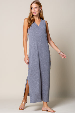 DEEP V NECK LONG DRESS WITH SIDE BUTTON DETAIL