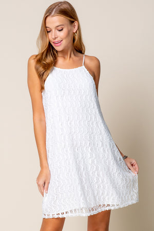 Knit Lace Dress in White