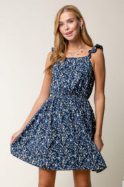 FLUTTER SLEEVE FLORAL PRINT DRESS WITH CUTOUT TIE BACK