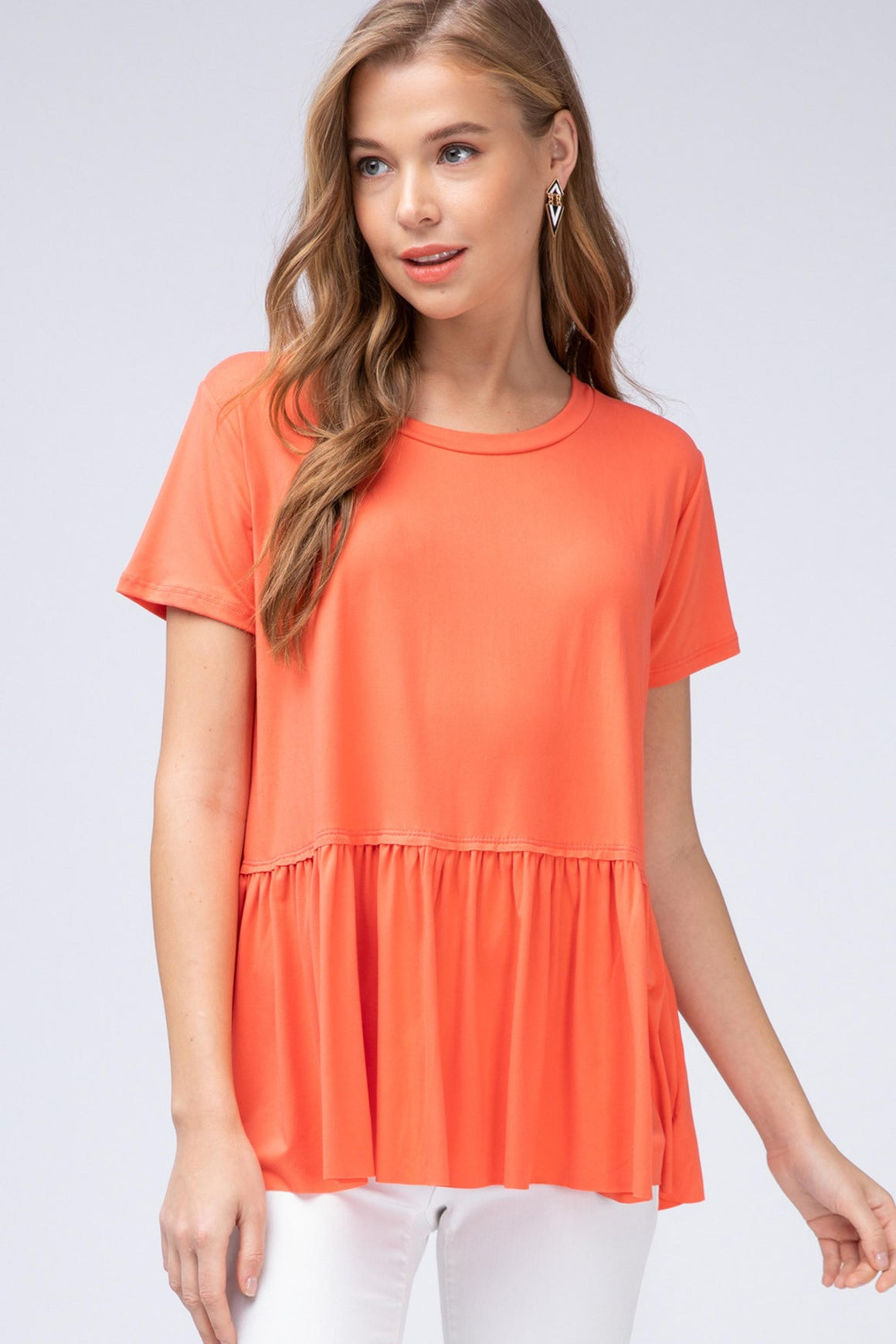 Basic Ruffle Seam Top - SAND