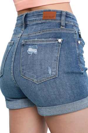 Medium Distressed High Rise Distressed Denim Shorts