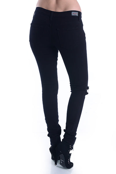 Knee Slit Black Denim