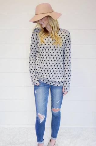 Polka Dot Thumbhole Sweater