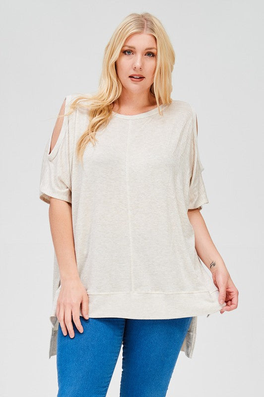 This boxy,  short-sleeve, keyhole top is a perfect stretchy knit.  So cute with jeans and a pair of wedges this summer!