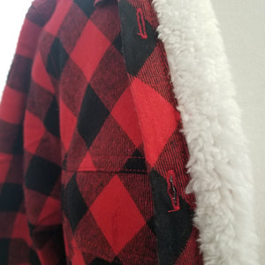 Buffalo Plaid Button Up With Sherpa Lining
