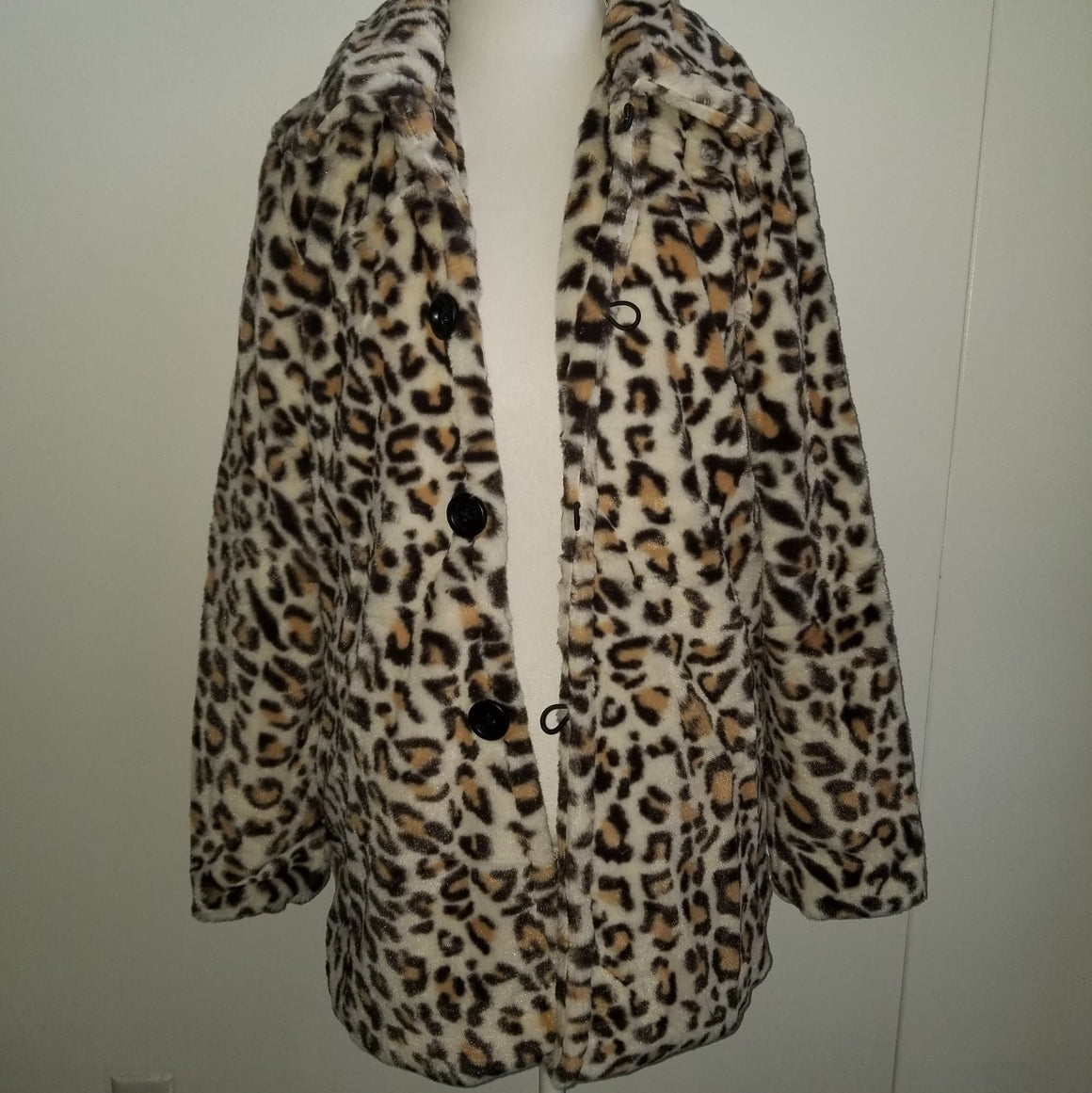 Fuzzy Faux Fur Leopard Coat