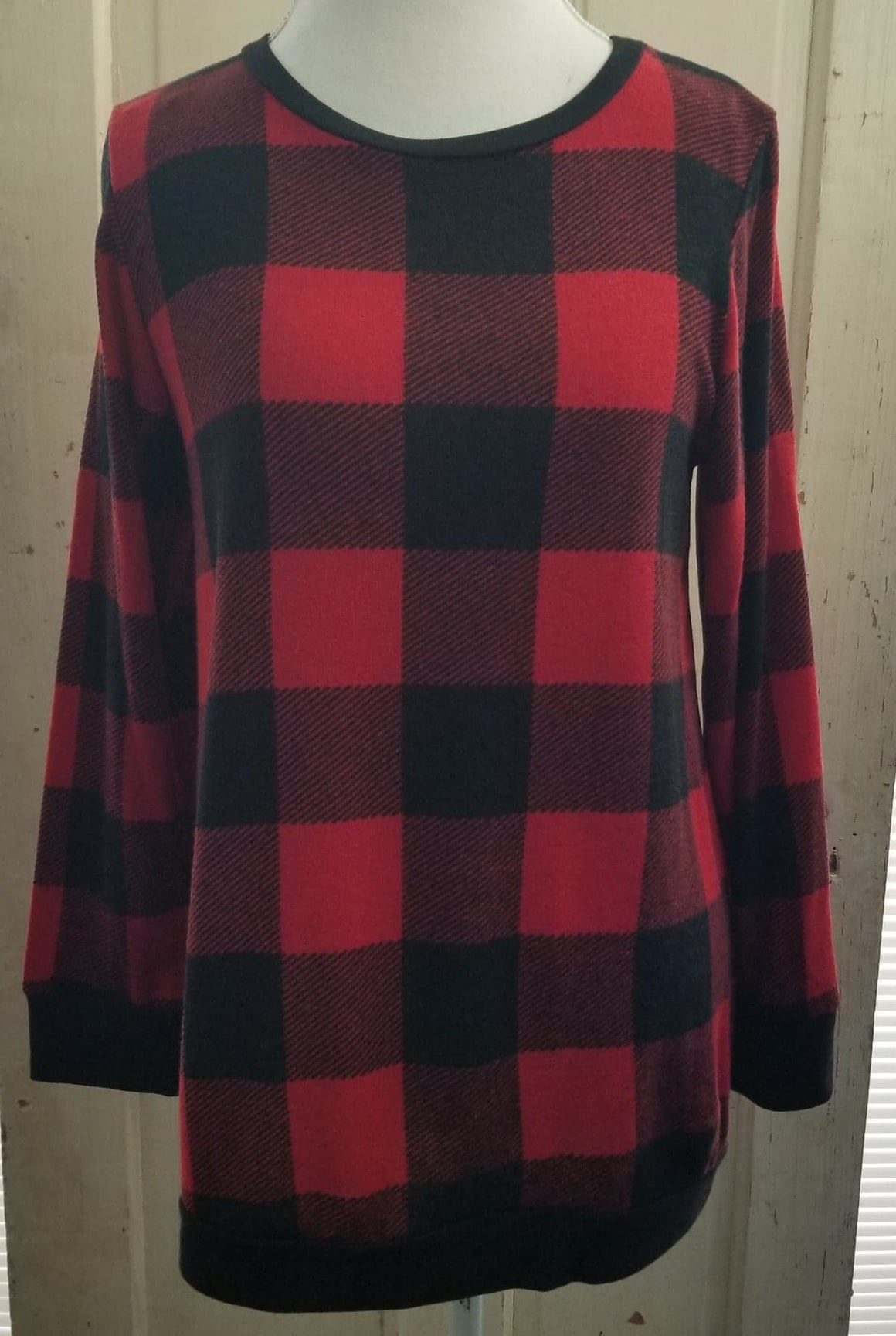 Buffalo Plaid Banded Sweater