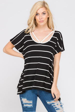 Black and White Strappy Striped Top
