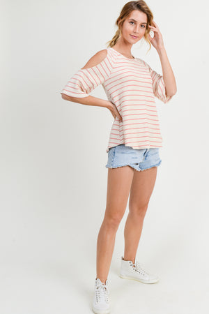 Striped Cold Shoulder with Crochet Back